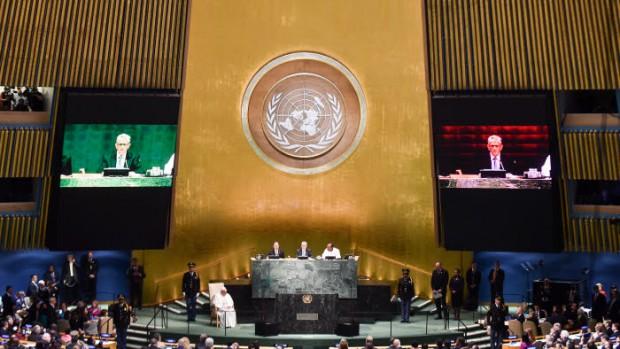 Septembre 2015. Voyage du pape François aux USA. ONU.