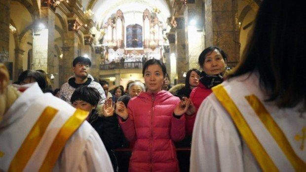 Messe de Noël à la cathédrale de Beijing