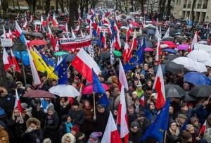Manifestation anti-gouvernementale. Pologne