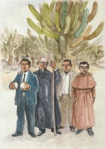 La Rioja - Wenceslao Pedernera , Enrique Angelelli, Gabriel Longueville et Carlos de Dios Murias.