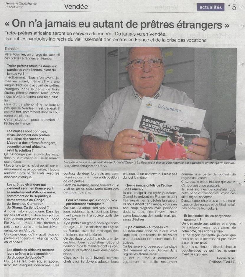 Prêtres étrangers : article dans le Ouest France
