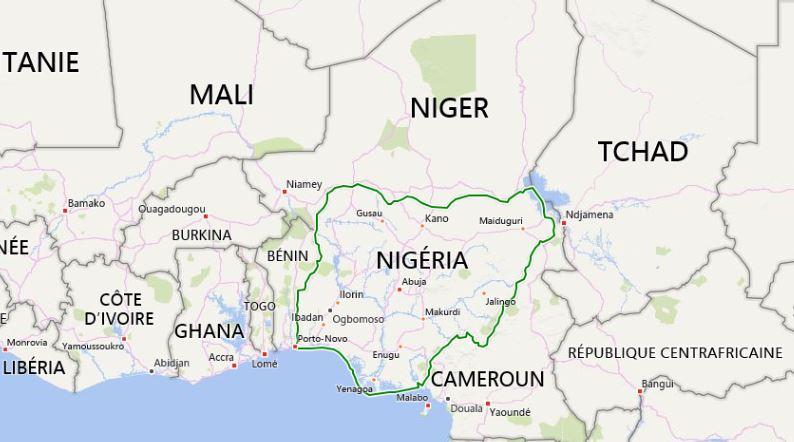 Carte du Négéria