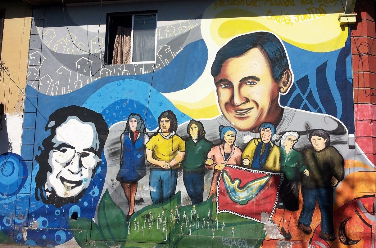 Santiago du Chili - Fresque rendant hommage à André Jarlan et Pierre Dubois