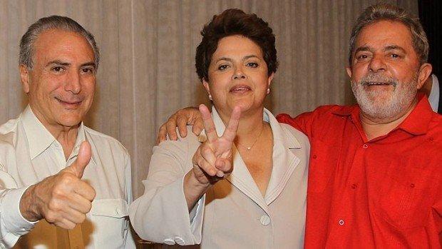 Michel Temer, Dilma Roussef et Lula en 2010