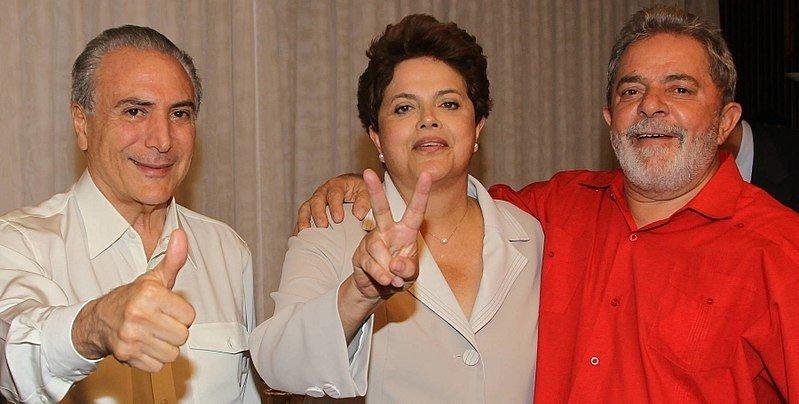 Brésil - Michel Temer, Dilma Rousseff et Lula en 2010