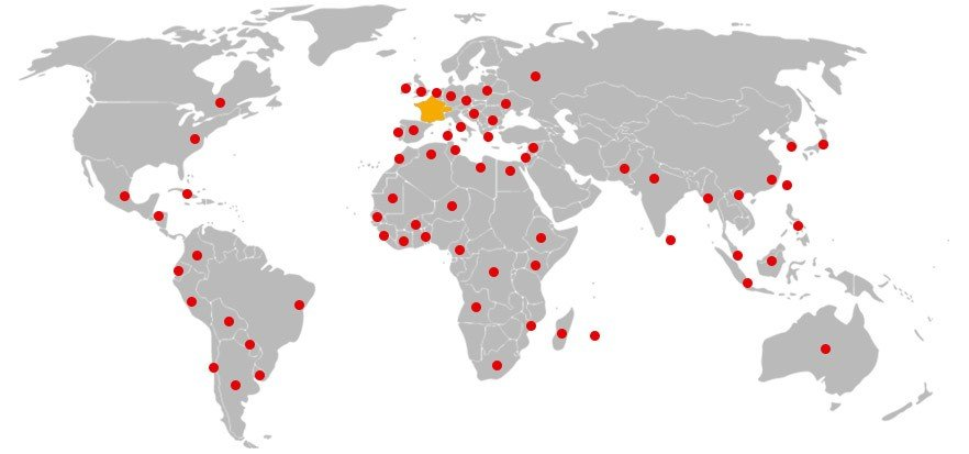 Répartition des communautés de fmm dans le monde (un point rouge pour chaque pays où se trouve une communauté)