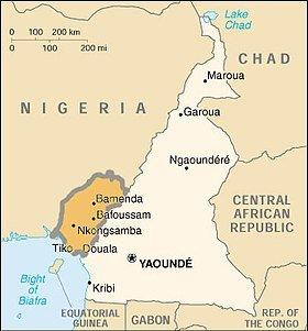 Cameroun sécession. Carte du territoire revendiqué par la république d'Ambazonie.