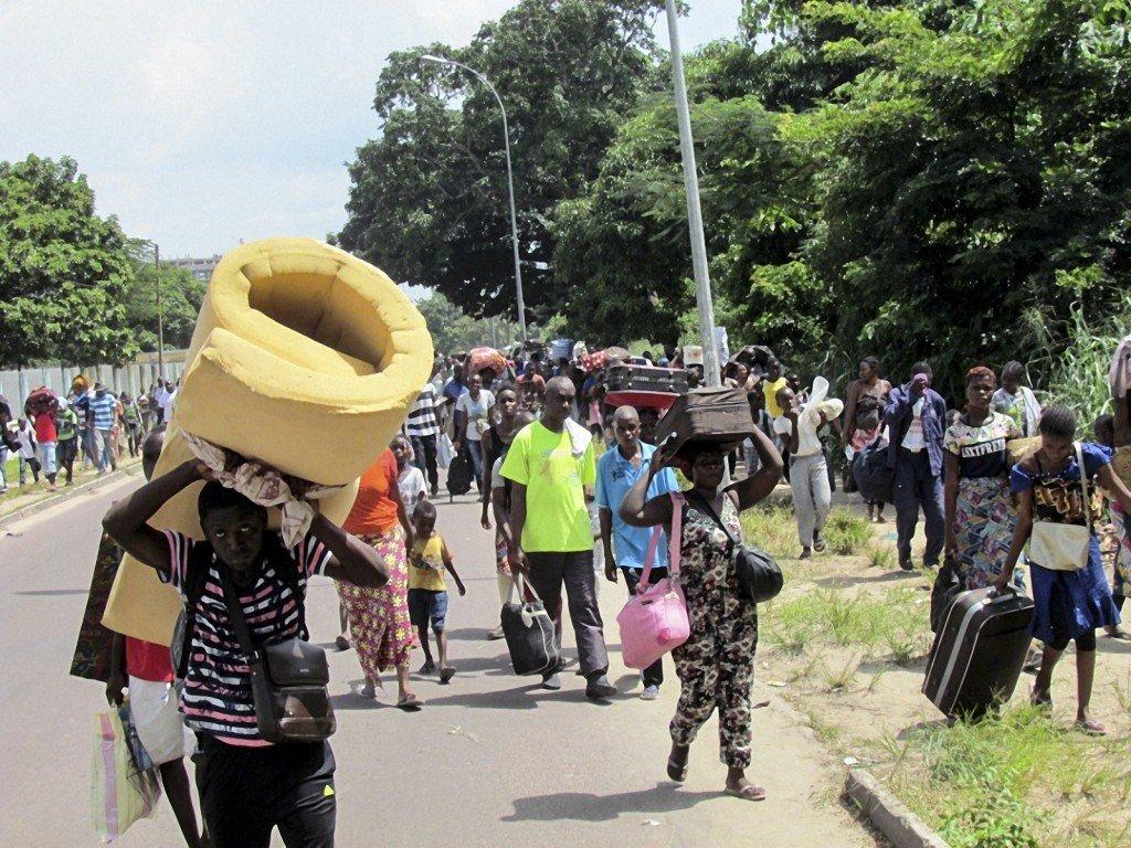 Habitants fuyant les violences. Congo-Brazzaville