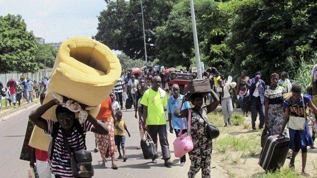 Habitants fuyant les violences. République du Congo