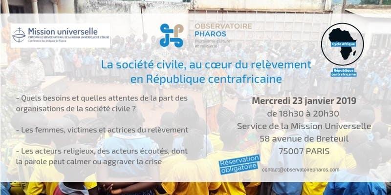 conférence du 23 janvier. La société civile, au coeur du relèvement en République Centrafricaine