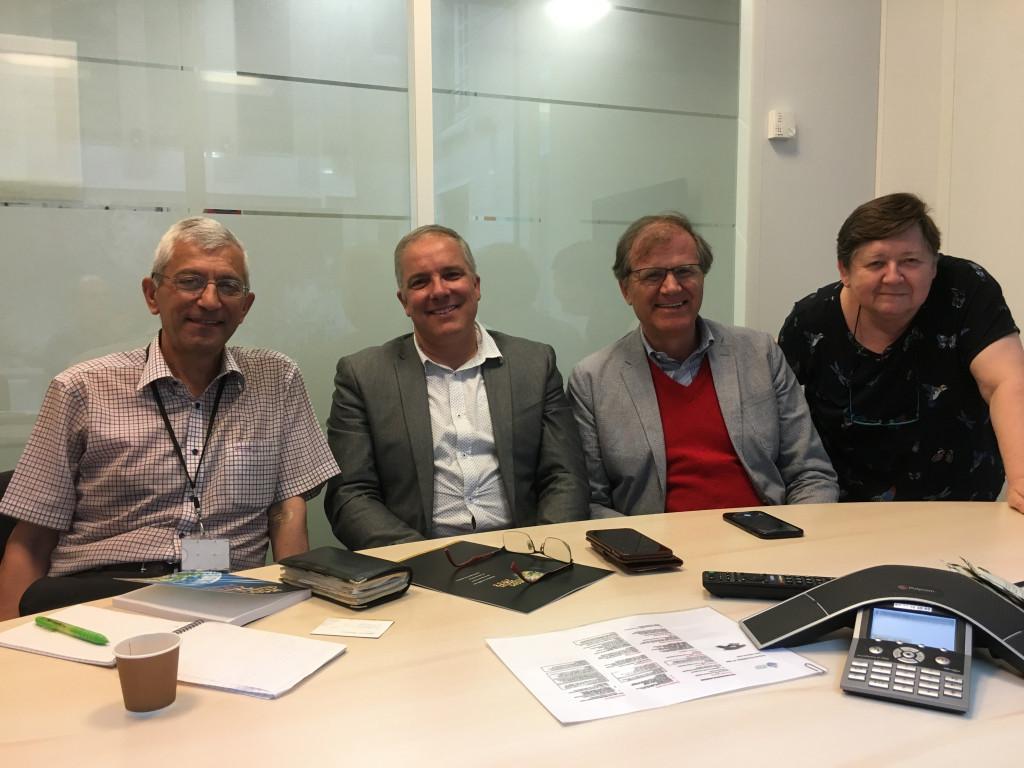 En marche vers 2033. Antoine Sondag, Olivier Fleury, Martin Hoegger et Annie Josse à la Conférence des Évêques de France.