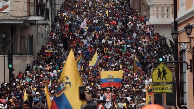 Manifestation à Quito, en Équateur.