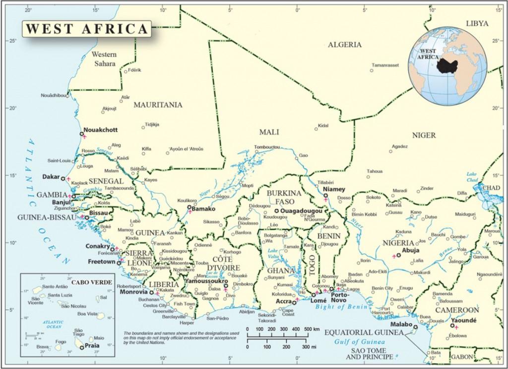 Église d'Afrique de l'Ouest face à l'islamisme. Carte de l'Afrique de l'Ouest