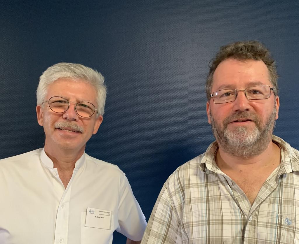 Université d'été 2020. Michel Roy, membre de l'équipe d'animation et Bernard Salamand, délégué général de Ritimo.